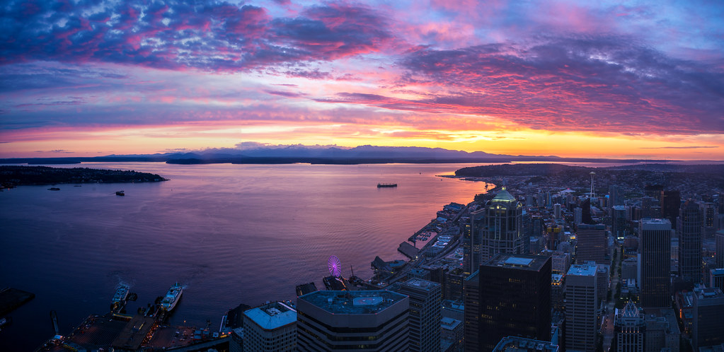 Seattle Sunset Pano from Sky View Observatory | Mike Reid