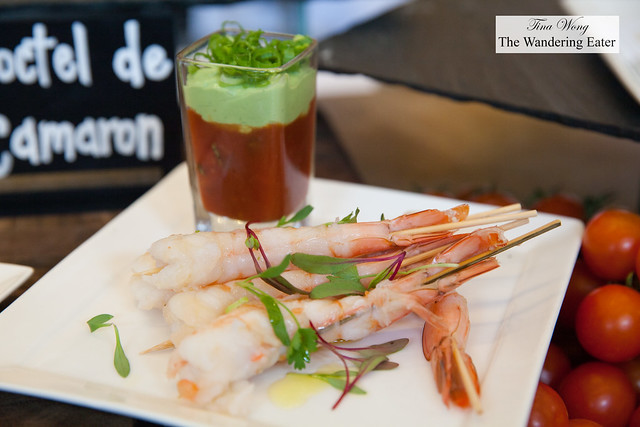 Coctel de Cameron - chilled shrimp with Mexican cocktail sauce and avocado by Chef Ken Oringe, Toro Restaurant
