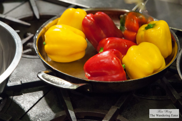 Bell peppers sauteeing in the pan