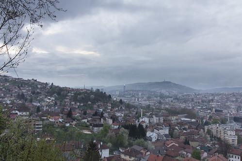 city panorama sarajevo bosnia capital balkan