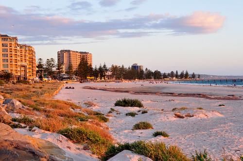 sunset sea beach australia adelaide glenelg