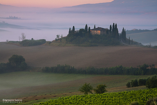 Sunrise at Tuscan countryside