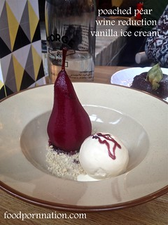 poached pear, red wine reduction, vanilla ice cream - Forge & Co, Shoreditch - London Food Blog   by Priscilla @ Food Porn Nation