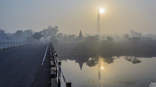 bridge sun india reflection water sunrise river pune 2015