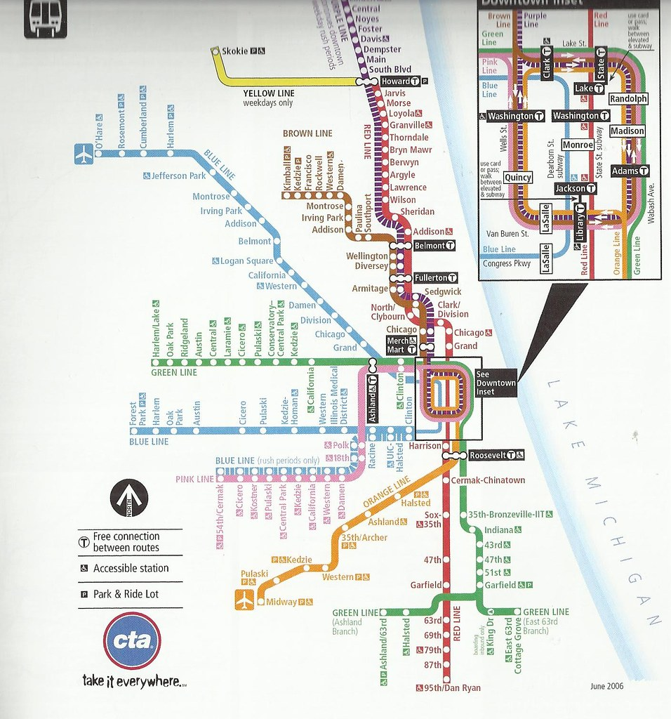 Chicago CTA map. John Coyle scan | John Coyle | Flickr on
