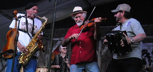 BeauSoleil, Charles Neville, Michael Doucet, Jo-El Sonnier at Jazz Fest. Photo by Black Mold.