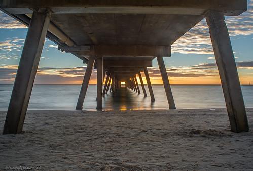 sunset sea beach water jetty south australia glenelg