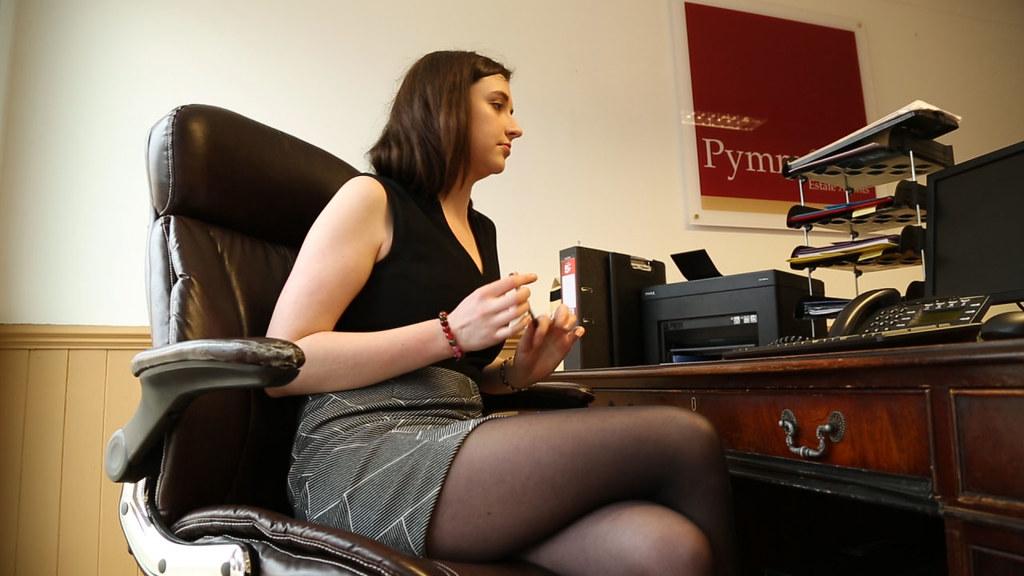 Sexy Office Girl In Short Skirt  Still Taken From The -3415