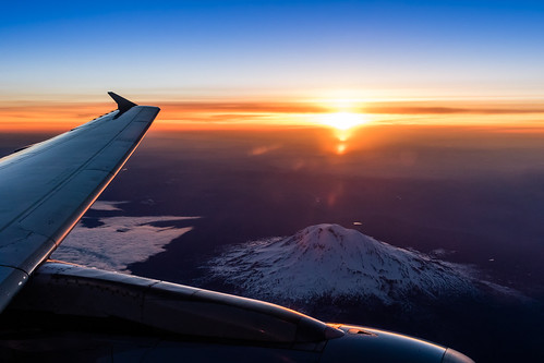 sky mountain mountains clouds sunrise us washington unitedstates wing jet airbus aerialphoto puyallup goldenhour a320 windowseat mountadams stratovolcano planespotting giffordpinchotnationalforest