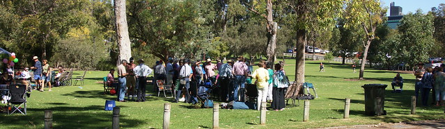 Back to Kununurra 2015 gathering,every year many past residents of the Ord river township of Kununurra get-to-gether in Kings Park for lunch,mind you some just do not have time fo food as there is so much to talk about :-).