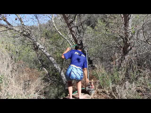0789 Video of Vicki taking a super fast shower at Tule Spring on the PCT, WR0137