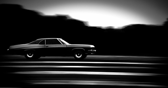 1972 Buick in motion, B&W