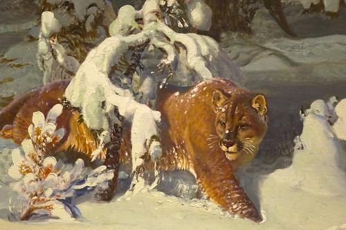 winter newyork detail painting puma cougar corning oiloncanvas westernart rockwellmuseum ahobblingaday huntinginthesnow johnfclymer timeofhunger itougtitawapuddytat