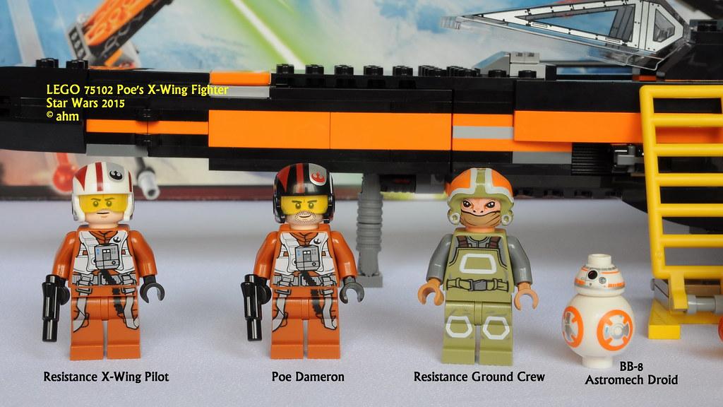LEGO Star Wars Minifigure  Poe Dameron /& X-Wing Pilot /& Ground Crew 75102