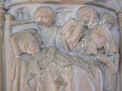 seven sacrament font: Last Rites - dying man, weeping widow
