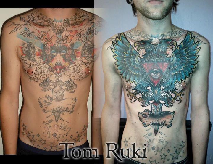 Chest Coverup Custom Tattoo Design By Tom Ruki For Booking Flickr