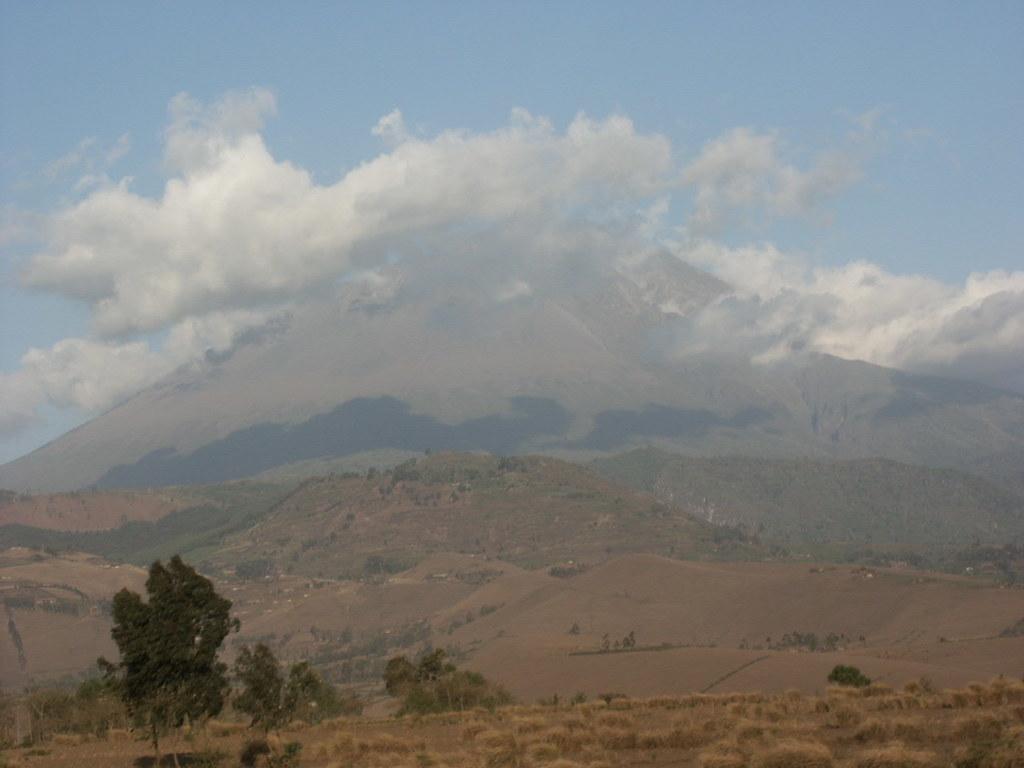 Mt Meru (4566m), photographed on the road to Arusha from the Kenyan border