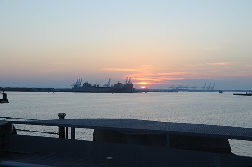 norfolk virginia nauticus wisconsin battleship navy mermaid museum town point park waterside sun sunset uss u s