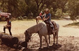 Sam riding 'Lady', January 1985