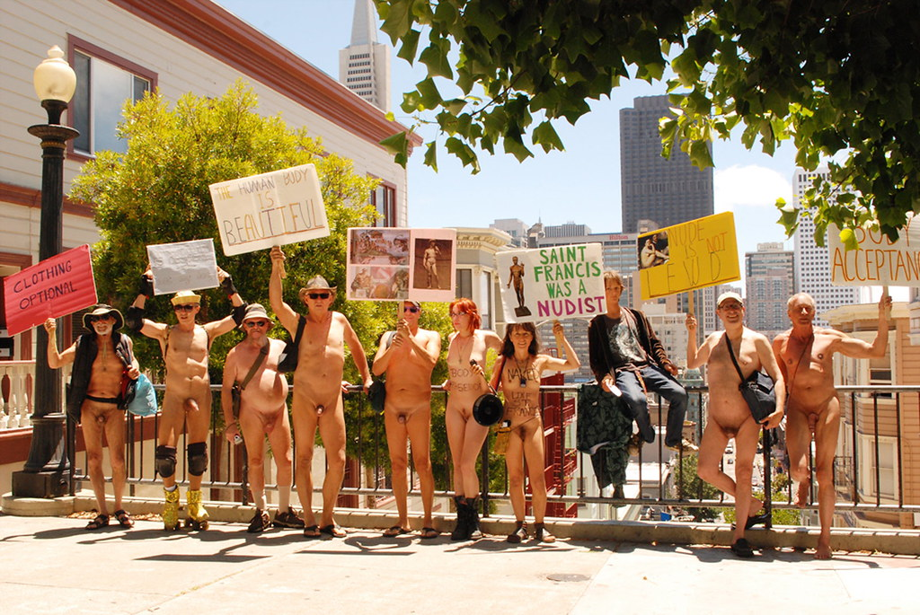 St.-Francis-as-Nudist rally