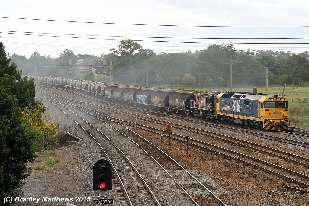 8116-48164 with 6422N up PN cement/sugar trains from Grafton to Morandoo at Maitland (19/4/2015) by Bradley Matthews