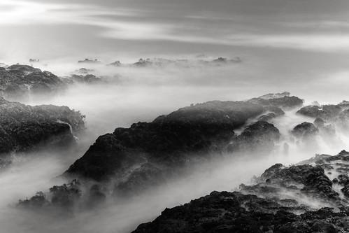 ocean longexposure sea blackandwhite bw mist motion rocks waves nd skancheli