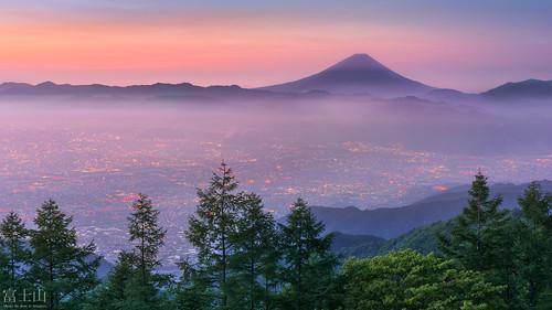 morning mountain japan fog sunrise dawn fuji fujisan yamanashi yamanashiken nirasakishi