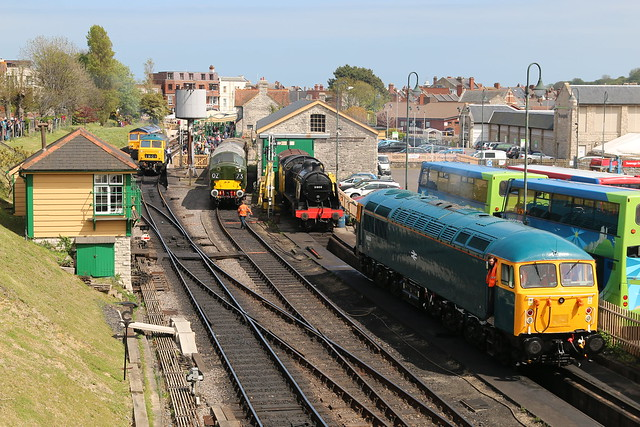 Swanage Gala on a page: (l - r) 66741 'Swanage Railway', Class 35 'Hymek' D7076, Class 37 D6757, behind this is Electro-diesel 73107 and 56006 is in the foreground. 10 May 2015