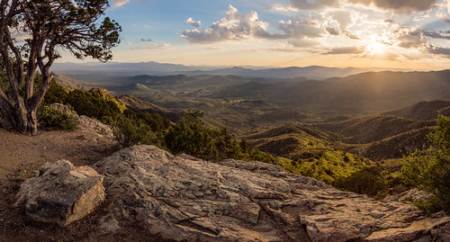 sunset arizona panorama cliff mountains tree rock clouds pano scenic az valley overlook prescott michaelwilson skullvalley