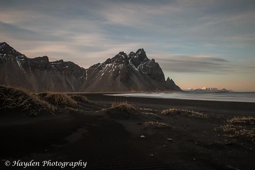 mountain seascape black beach volcano coast iceland twilight surf volcanic blacksandbeach hofn vesturhorn icelandicbeach stokksness stokksnesspeninsula