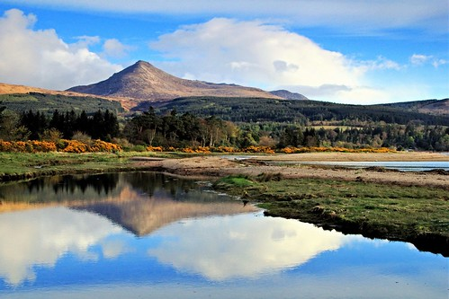 mountain reflection water coast scotland seaside seashore brodick arran corbett goatfell