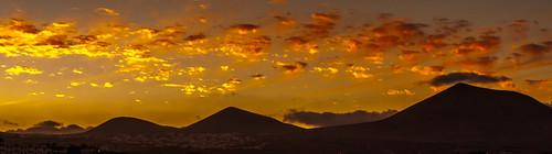 sunset lanzarote volcanoes