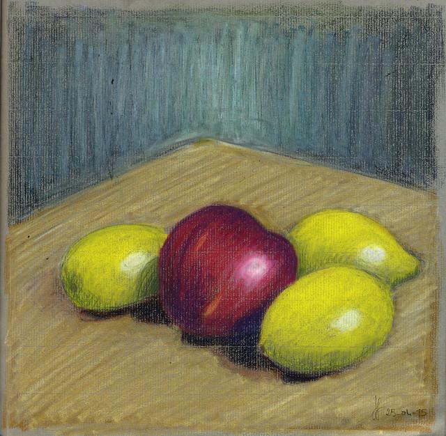 Three lemons and an apple. Neocolor Apr. 2015