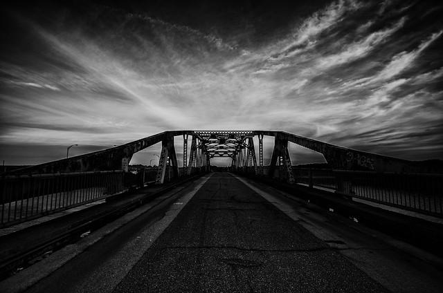 The retired Dover to Newington bridge in NH. B/W