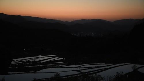 field japan sunrise 日の出 田園 棚田