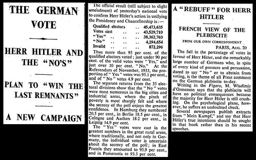 19th August 1934 - German Election Results | by Bradford Timeline