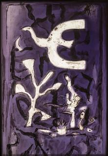 L'oiseau sur fond violet - 1962 - Georges Braques / Harles Marq - Chapelle saint-Bernard de la fondation Maeght - Saint-Paul-de-Vence