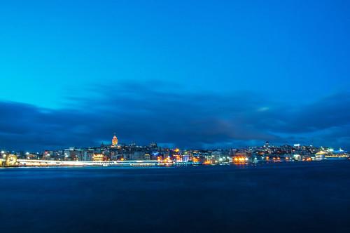 blue sky water weather night clouds turkey geotagged europe cityscape waterfront cloudy outdoor horizon istanbul tur goldenhorn eminönü bospherous geo:lat=4101734010 geo:lon=2897534609