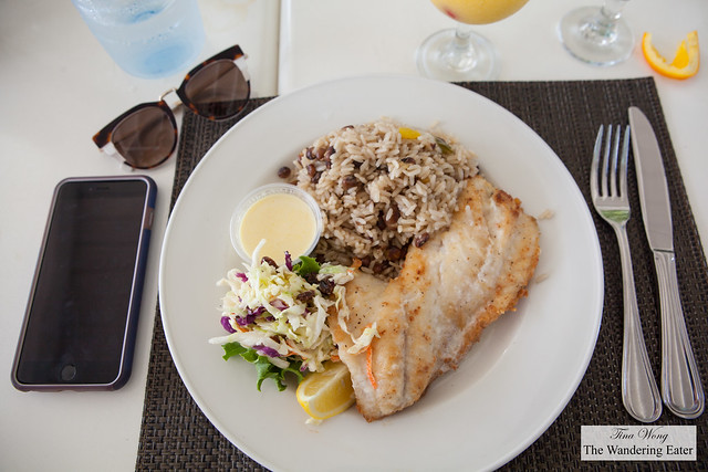 Snapper with rice and peas and cole slaw