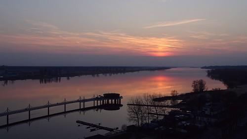 sunset sky nature water reflections river landscape pier spring colours poland polska wisła płock