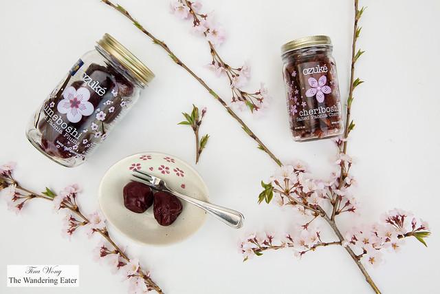 Ozuké pickled plums (umeboshi) and picked cherries (cheriboshi)