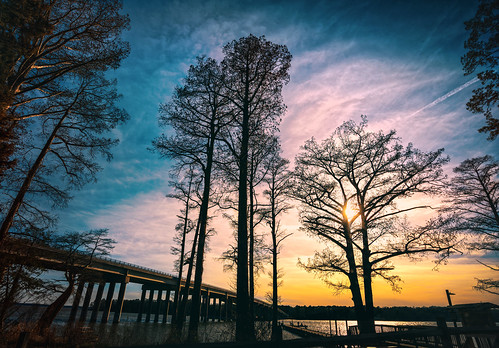 bridge trees sunset sky color river wideangle intothesun falsecolor chickahominy