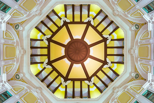 travel building geometric station japan architecture tokyo eagle geometry interior lookup relief dome 東京 rotunda atrium tokyostation octagon 東京駅