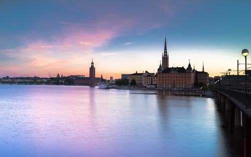bridge sea sky sunrise sweden stockholm cityhall magenta sthlm stadshuset cityview riddarholmen sonyalpha sel35f14z redfurwolf