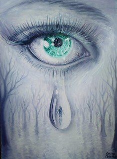 Lacrimi pentru iubirea care a plecat pictura ulei pe panza - Tears for a lost love oil on canvas  painting | by DeseneSiPicturiDeCorina