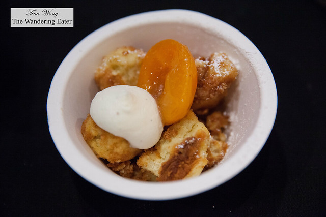 Shredded pancakes topped with fresh cream and apricot by Edi and the Wolf