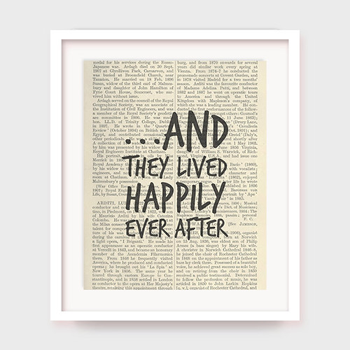 Wedding Gift, And They Lived Happily Ever After, Gift For Bride, Wedding Quote, Printable Wall Art, Instant Download | by Zachary C.