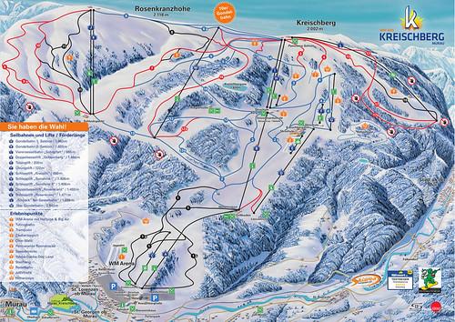 Kreischberg - mapa sjezdovek