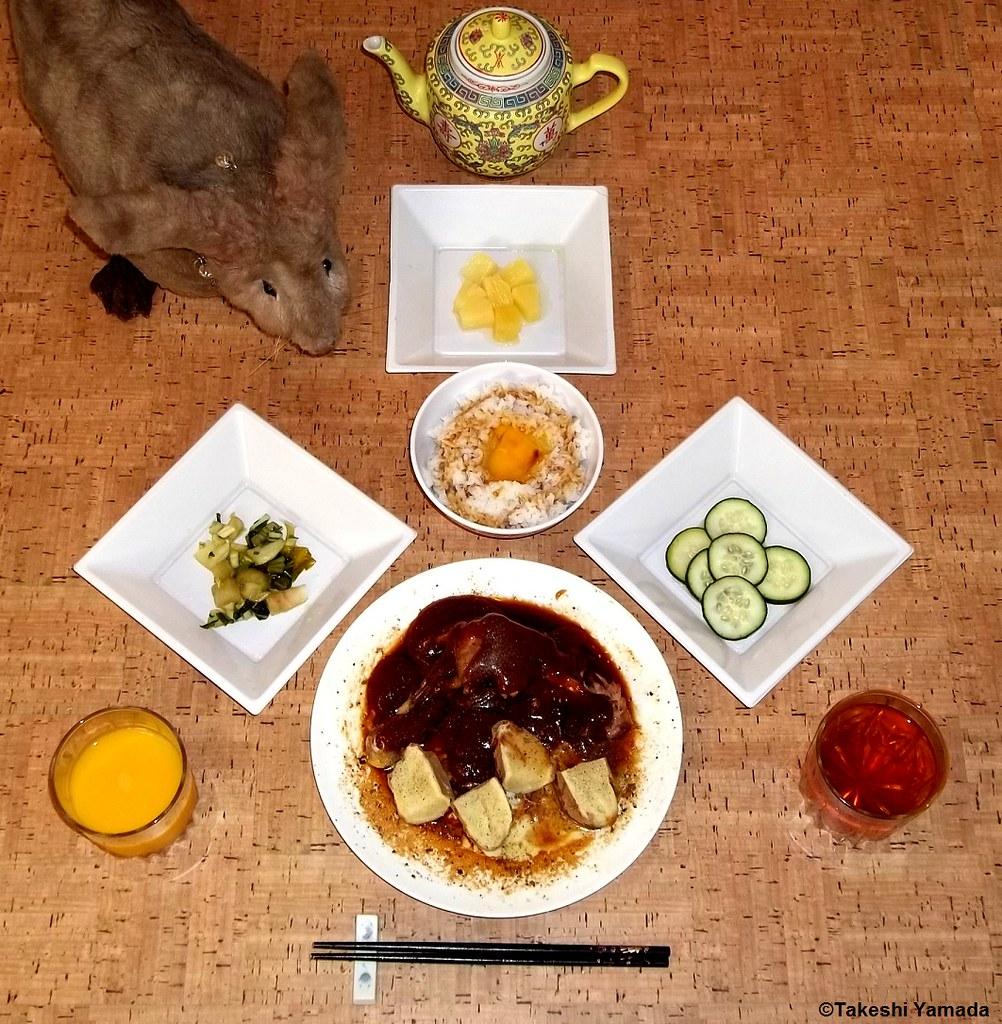 Dining with Seara (sea rabbit).  Photograph by Dr. Takeshi Yamada. 20120608 012 BBQ chicken & Baked Potato. JTKG (Japanese Tamago Kake Gohan). PBC (PIckled Bock Choy), PC (Pickled Cucumber), Pineapple. Orange Juice, Lemon Tea