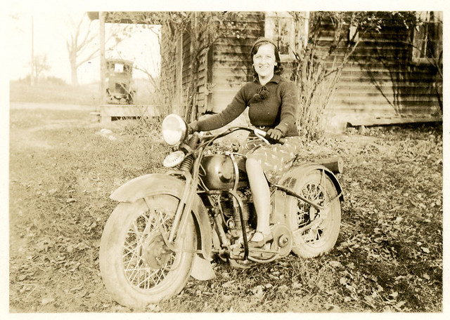 My aunt on a Harley